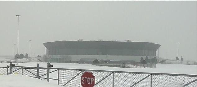 Pontiac Stadium in snow