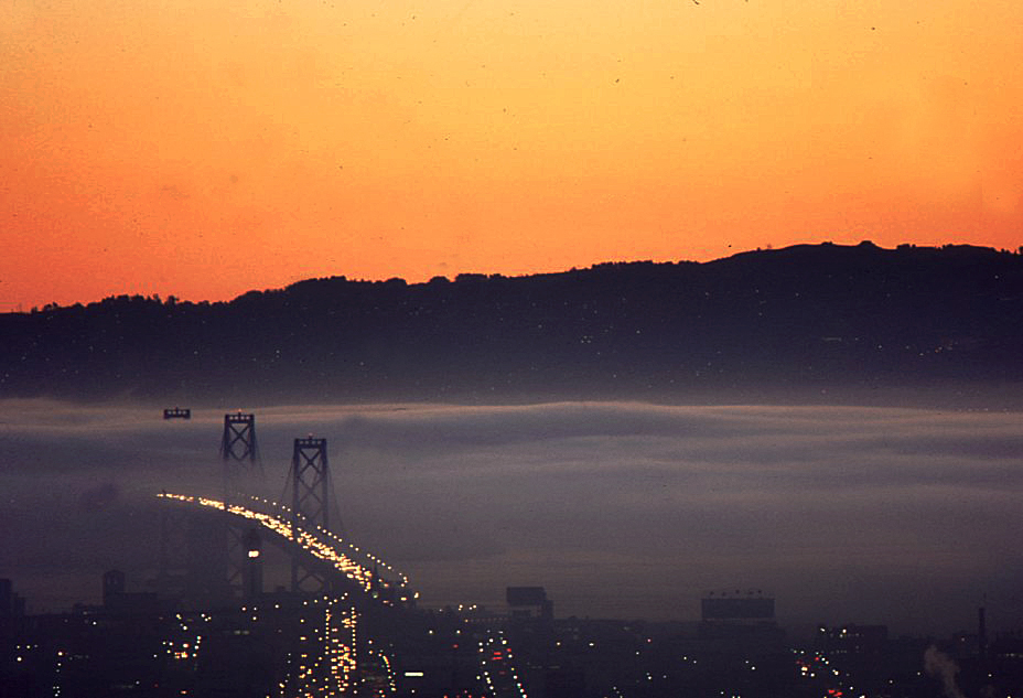 View from the apartment of a foggy sunrise over the Bay Bridge, April 30, 1974