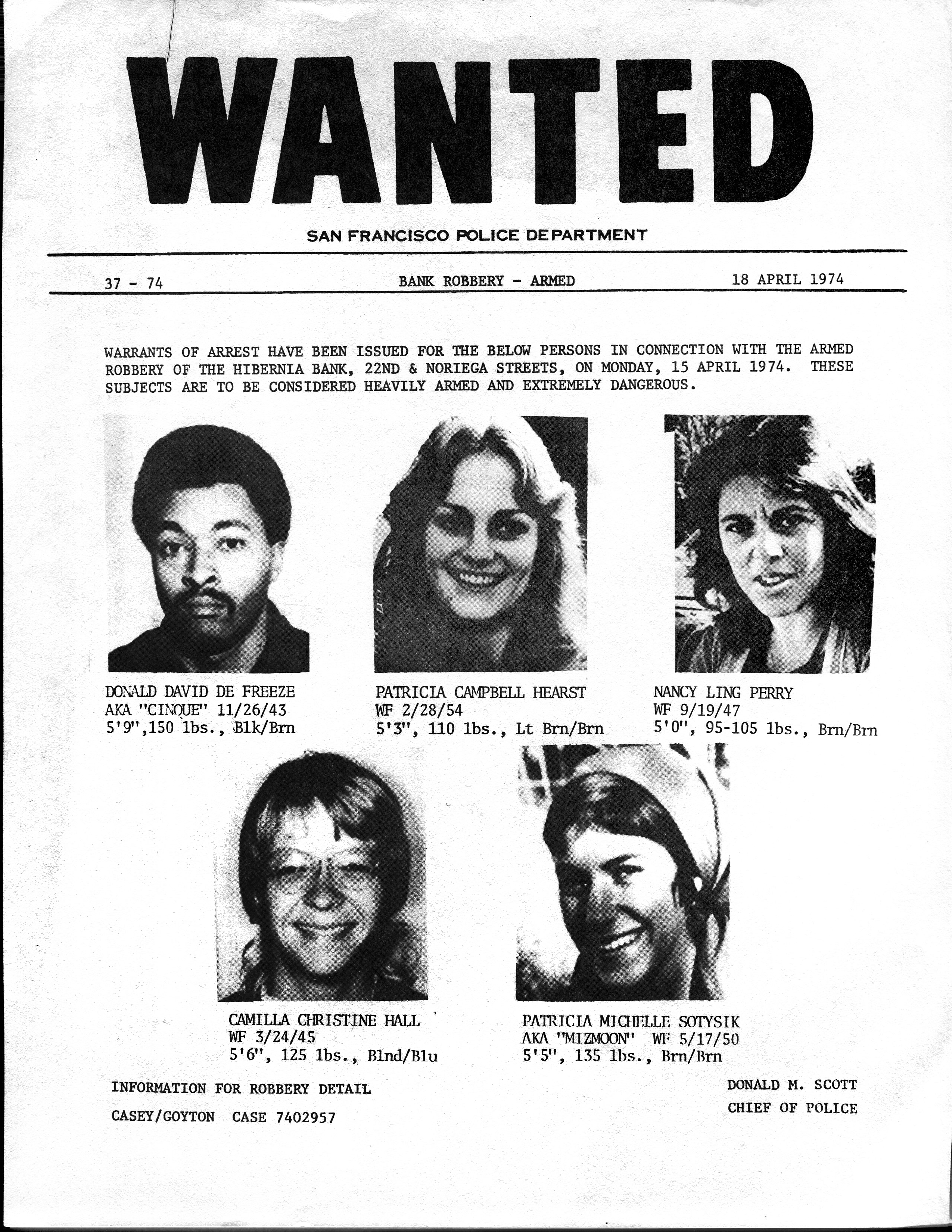 SFPD Wanted poster for the SLA