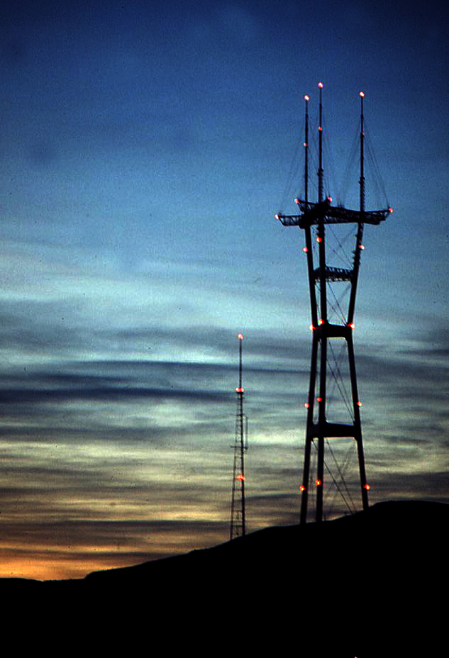 The old KGO transmitter and the new Sutro Tower at sunset
