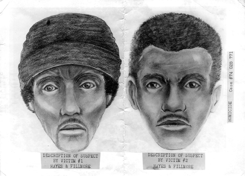 Sketch artist drawing carried by all SFPD members of suspected Zebra killer suspects
